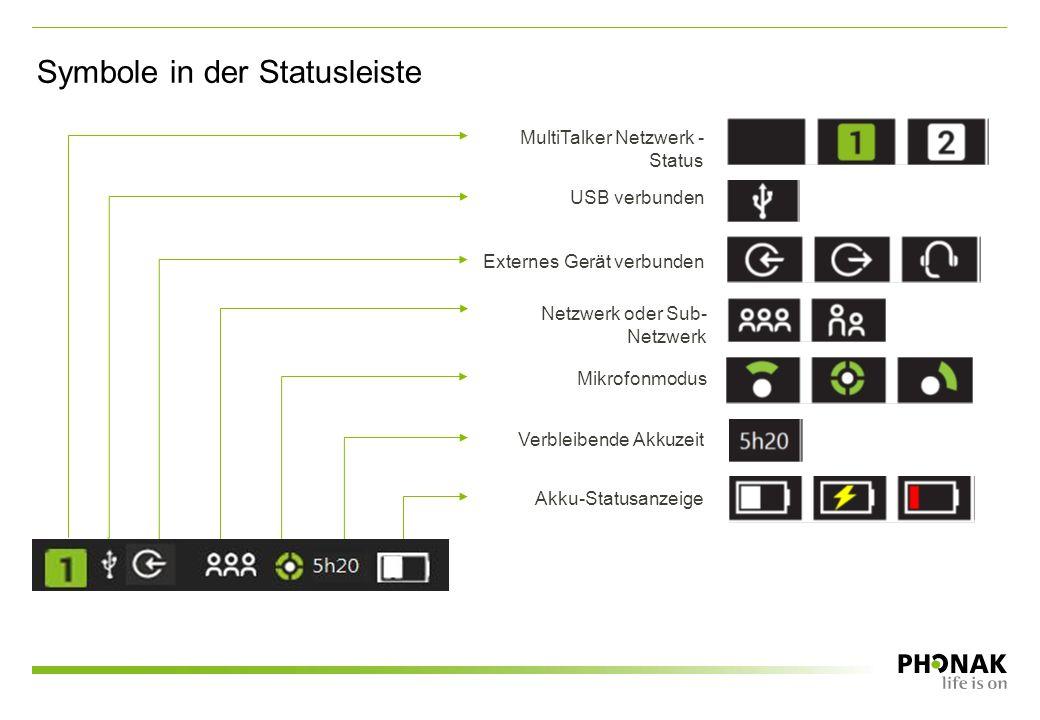 Symbole in der Statusleiste Akku-Statusanzeige Verbleibende Akkuzeit Mikrofonmodus Netzwerk oder Sub- Netzwerk Externes Gerät verbunden USB verbunden MultiTalker Netzwerk - Status