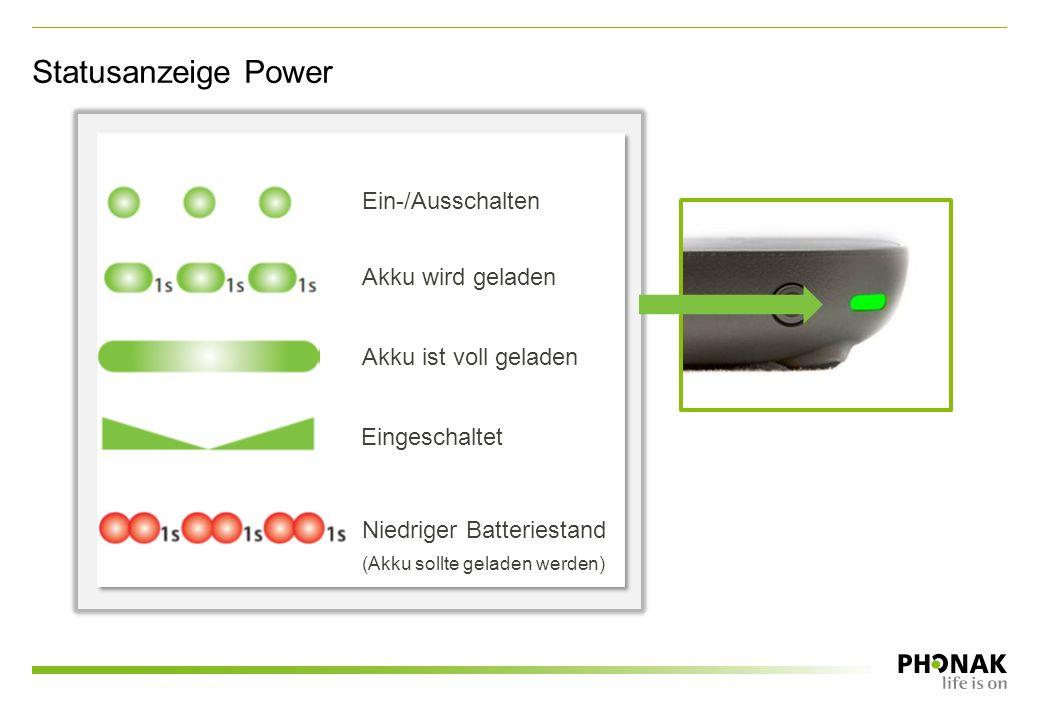 Statusanzeige Power Ein-/Ausschalten Akku wird geladen Akku ist voll geladen Eingeschaltet Niedriger Batteriestand (Akku sollte geladen werden)