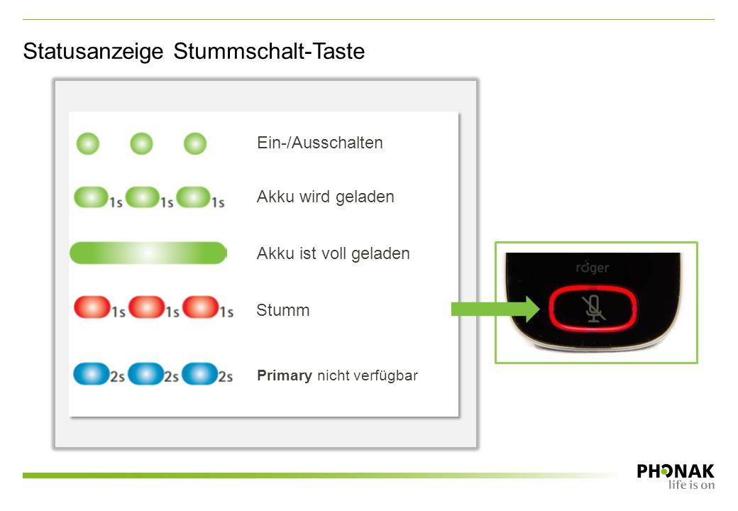 Statusanzeige Stummschalt-Taste Ein-/Ausschalten Akku wird geladen Akku ist voll geladen Stumm Primary nicht verfügbar