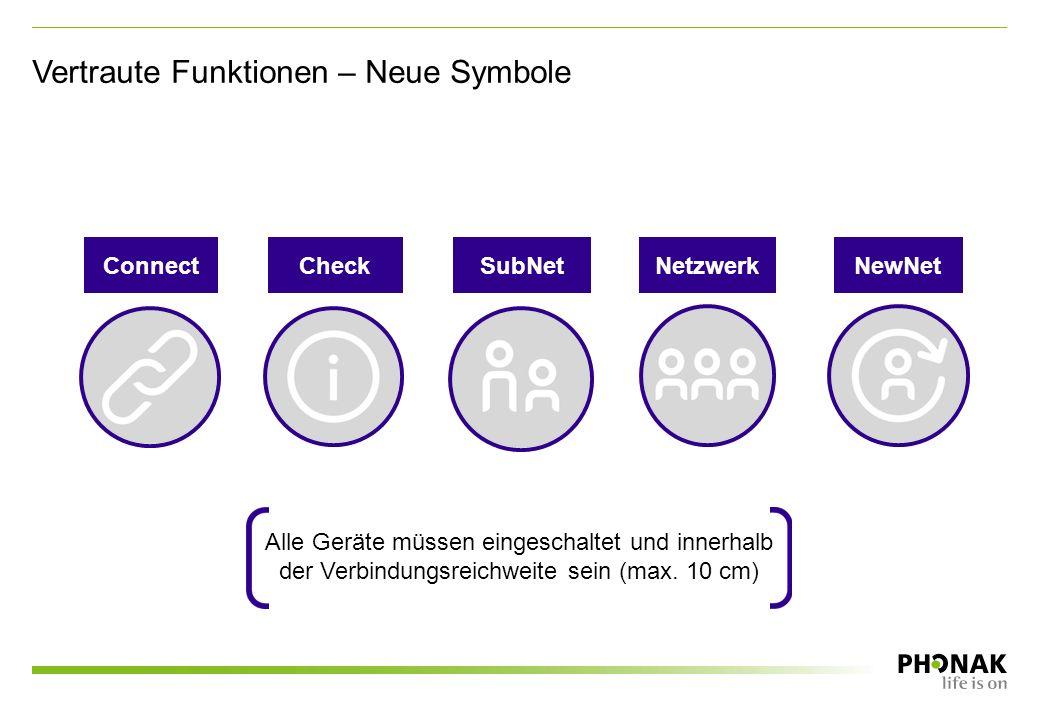 Vertraute Funktionen – Neue Symbole CheckSubNetNetzwerkNewNetConnect Alle Geräte müssen eingeschaltet und innerhalb der Verbindungsreichweite sein (max.