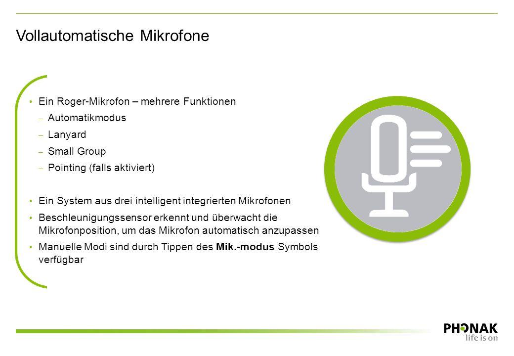 Vollautomatische Mikrofone Ein Roger-Mikrofon – mehrere Funktionen – Automatikmodus – Lanyard – Small Group – Pointing (falls aktiviert) Ein System aus drei intelligent integrierten Mikrofonen Beschleunigungssensor erkennt und überwacht die Mikrofonposition, um das Mikrofon automatisch anzupassen Manuelle Modi sind durch Tippen des Mik.-modus Symbols verfügbar