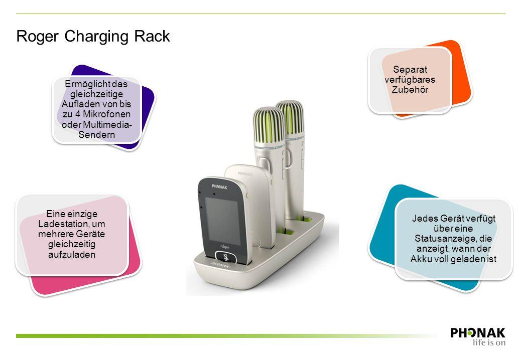 Roger Charging Rack Eine einzige Ladestation, um mehrere Geräte gleichzeitig aufzuladen Ermöglicht das gleichzeitige Aufladen von bis zu 4 Mikrofonen oder Multimedia- Sendern Jedes Gerät verfügt über eine Statusanzeige, die anzeigt, wann der Akku voll geladen ist Separat verfügbares Zubehör