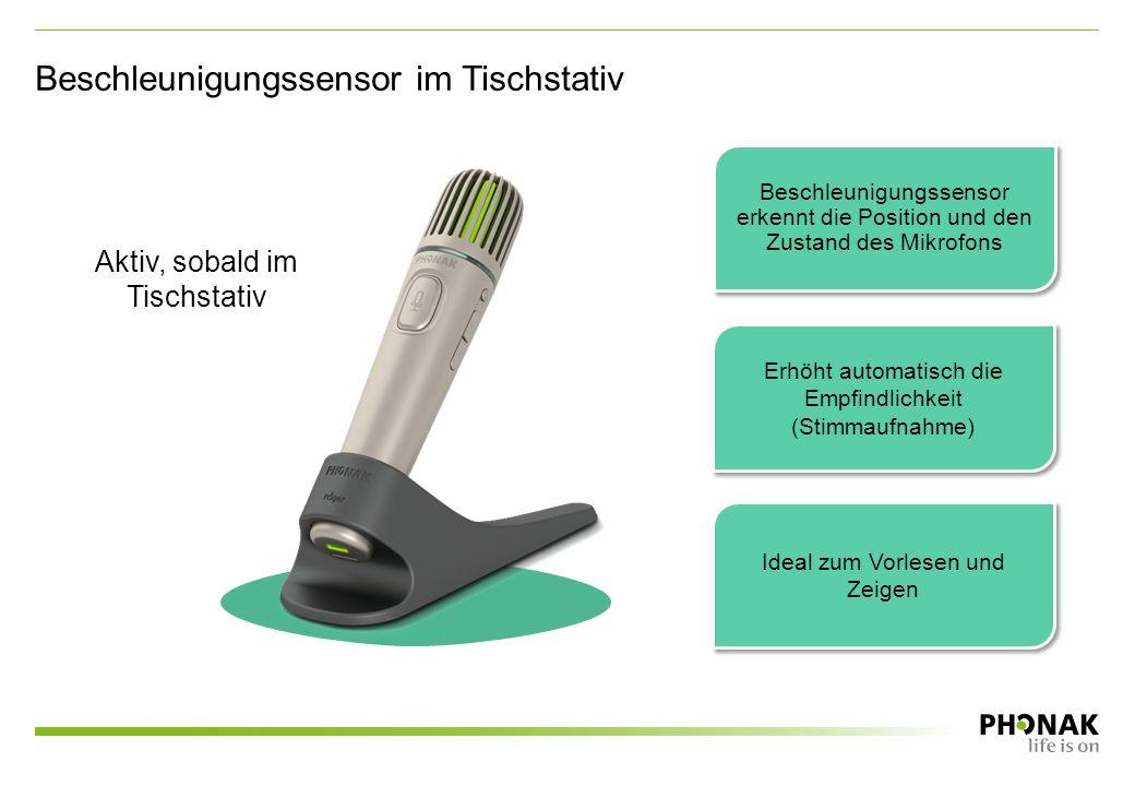 Beschleunigungssensor im Tischstativ Aktiv, sobald im Tischstativ Beschleunigungssensor erkennt die Position und den Zustand des Mikrofons Erhöht automatisch die Empfindlichkeit (Stimmaufnahme) Ideal zum Vorlesen und Zeigen