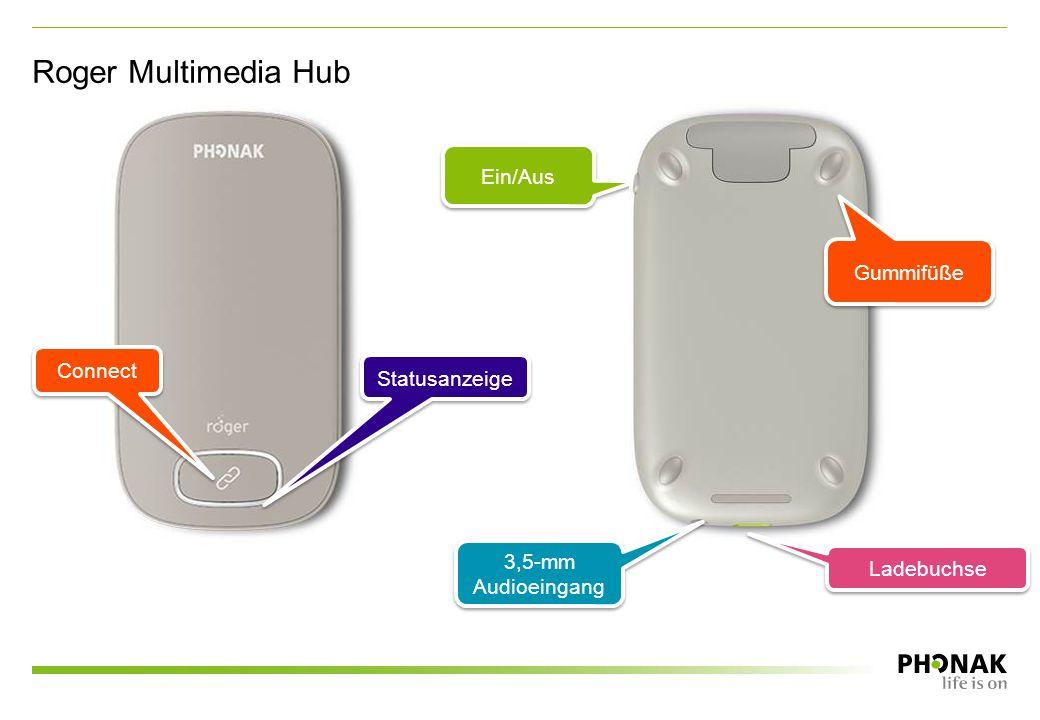 Roger Multimedia Hub Ein/Aus Statusanzeige Connect Gummifüße 3,5-mm Audioeingang Ladebuchse