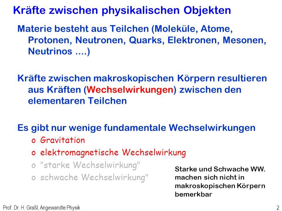 Prof. Dr. H. Graßl, Angewandte Physik 1 Kraft, Feld, Potenzial und potenzielle Energie am Beispiel Gravitation