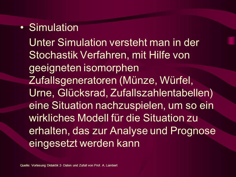 Simulation Unter Simulation versteht man in der Stochastik Verfahren, mit Hilfe von geeigneten isomorphen Zufallsgeneratoren (Münze, Würfel, Urne, Glücksrad, Zufallszahlentabellen) eine Situation nachzuspielen, um so ein wirkliches Modell für die Situation zu erhalten, das zur Analyse und Prognose eingesetzt werden kann Quelle: Vorlesung Didaktik 2- Daten und Zufall von Prof.