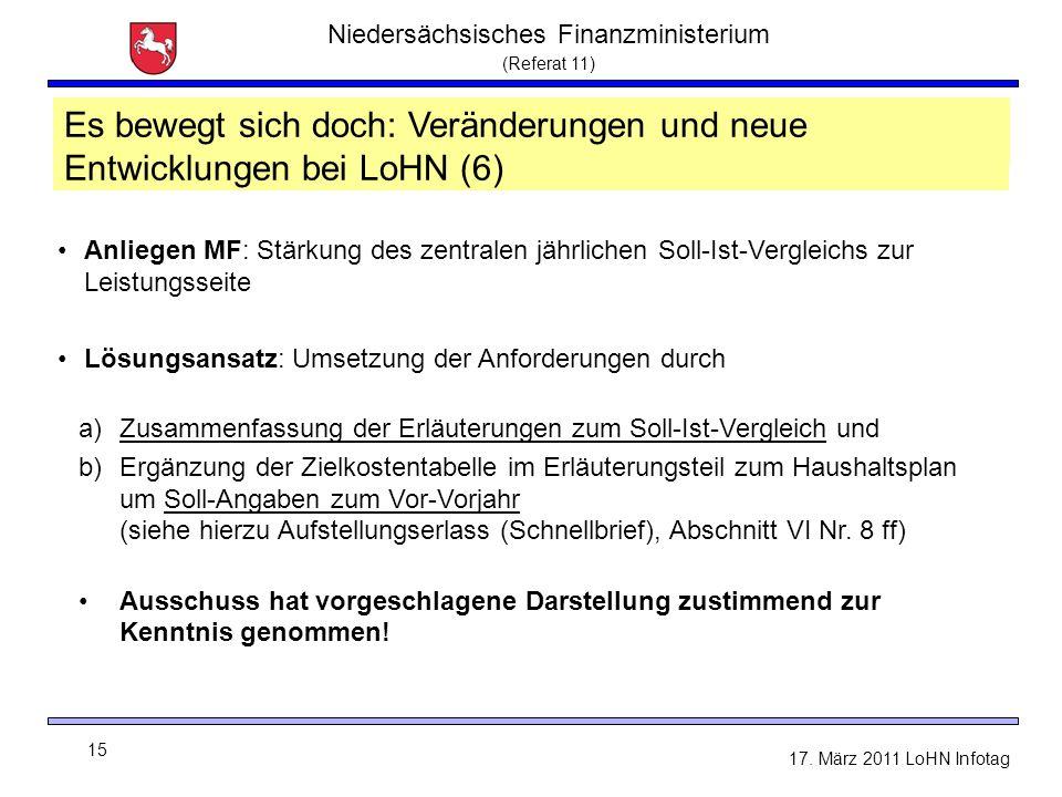 Niedersächsisches Finanzministerium (Referat 11) 15 17. März 2011 LoHN Infotag LoHN - Sachtand und Neuerungen Anliegen MF: Stärkung des zentralen jähr