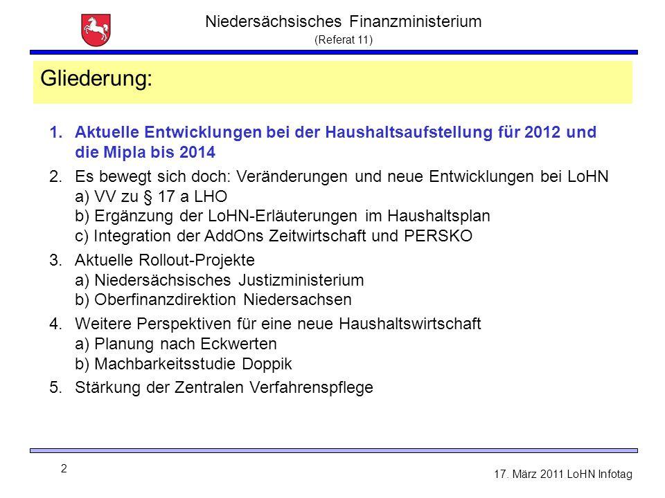 Niedersächsisches Finanzministerium (Referat 11) 2 17. März 2011 LoHN Infotag Gliederung: 1.Aktuelle Entwicklungen bei der Haushaltsaufstellung für 20
