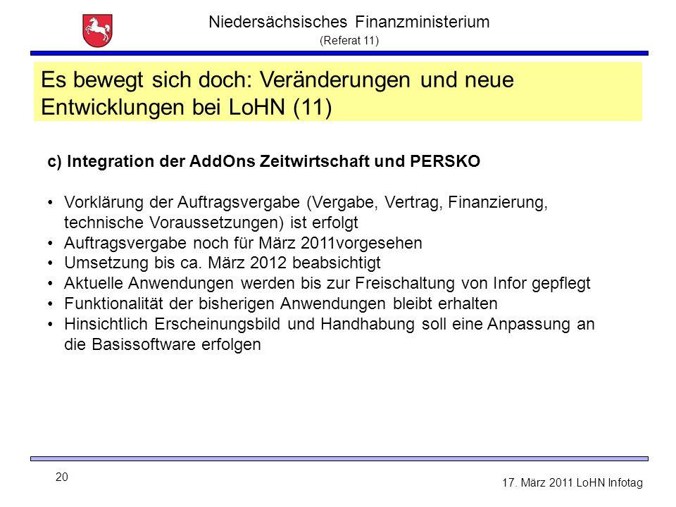 Niedersächsisches Finanzministerium (Referat 11) 20 17. März 2011 LoHN Infotag c) Integration der AddOns Zeitwirtschaft und PERSKO Vorklärung der Auft