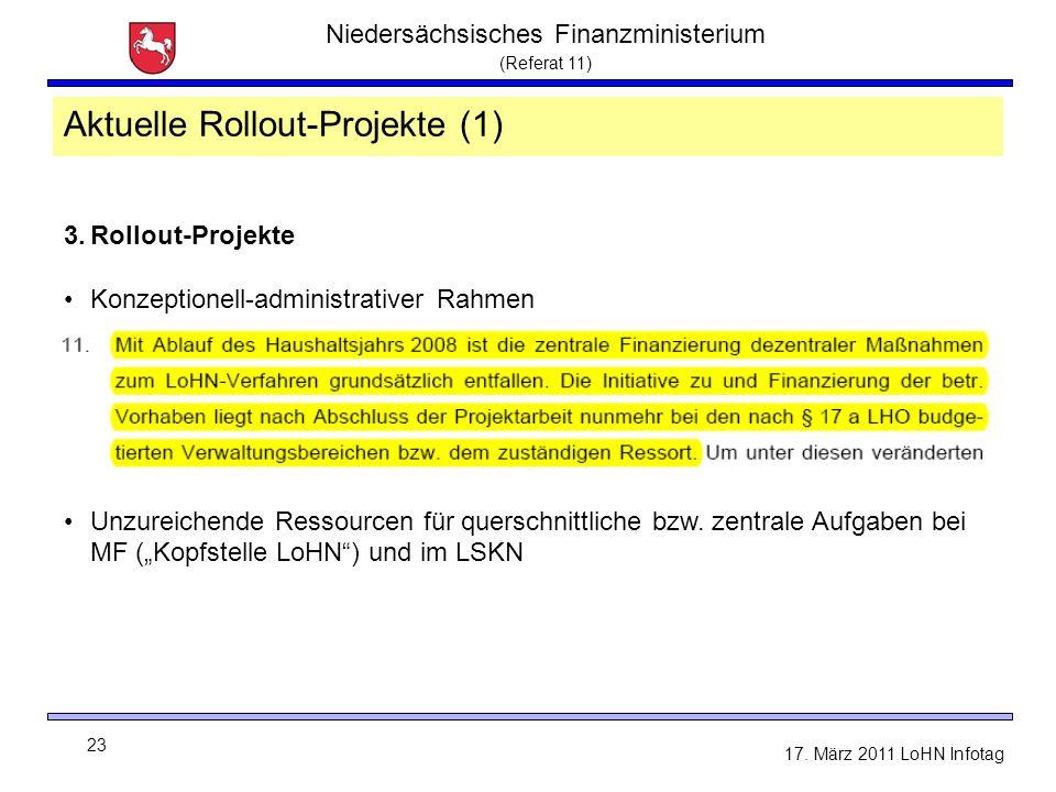 Niedersächsisches Finanzministerium (Referat 11) 23 17. März 2011 LoHN Infotag 3.Rollout-Projekte Konzeptionell-administrativer Rahmen Unzureichende R