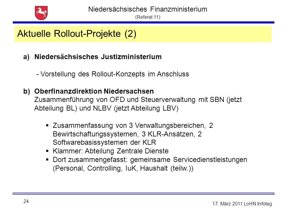 Niedersächsisches Finanzministerium (Referat 11) 24 17. März 2011 LoHN Infotag a)Niedersächsisches Justizministerium - Vorstellung des Rollout-Konzept