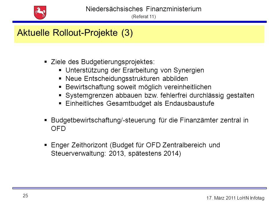 Niedersächsisches Finanzministerium (Referat 11) 25 17. März 2011 LoHN Infotag  Ziele des Budgetierungsprojektes:  Unterstützung der Erarbeitung von