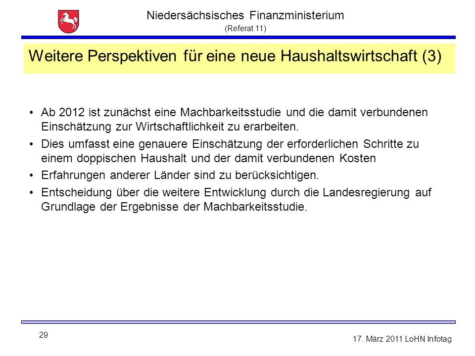 Niedersächsisches Finanzministerium (Referat 11) 29 17. März 2011 LoHN Infotag Weitere Perspektiven für eine neue Haushaltswirtschaft (3) Ab 2012 ist