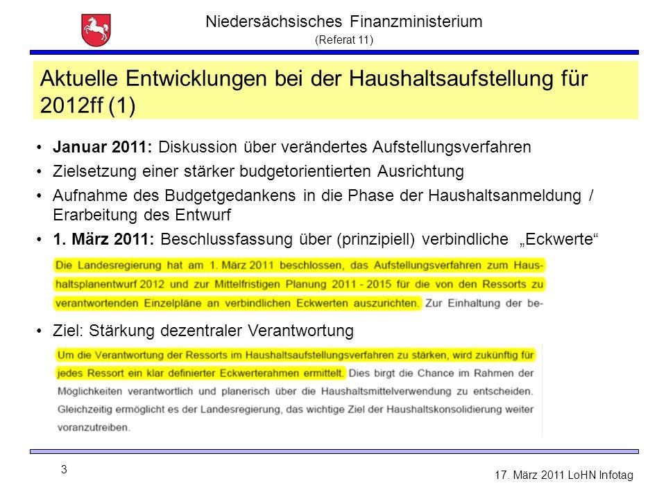 Niedersächsisches Finanzministerium (Referat 11) 3 17. März 2011 LoHN Infotag Aktuelle Entwicklungen bei der Haushaltsaufstellung für 2012ff (1) Janua