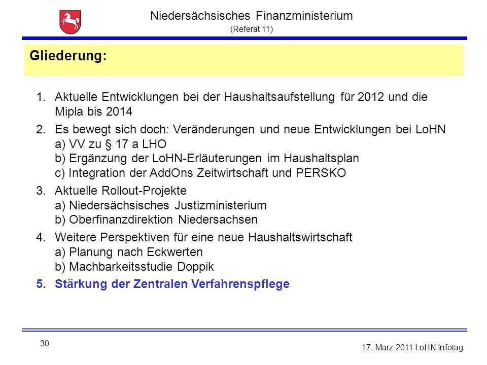 Niedersächsisches Finanzministerium (Referat 11) 30 17. März 2011 LoHN Infotag Gliederung: 1.Aktuelle Entwicklungen bei der Haushaltsaufstellung für 2