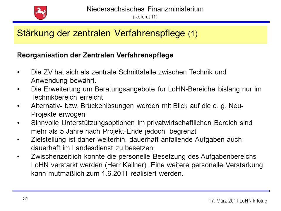 Niedersächsisches Finanzministerium (Referat 11) 31 17. März 2011 LoHN Infotag Stärkung der zentralen Verfahrenspflege (1) Reorganisation der Zentrale