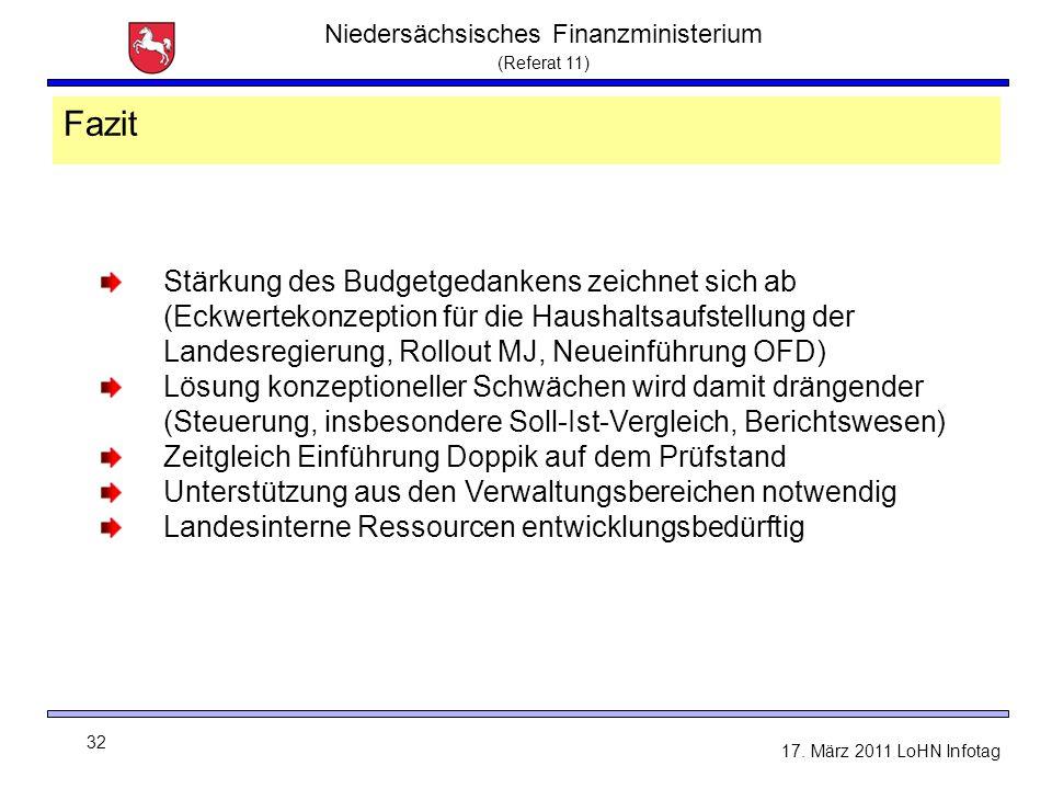 Niedersächsisches Finanzministerium (Referat 11) 32 17. März 2011 LoHN Infotag Fazit Stärkung des Budgetgedankens zeichnet sich ab (Eckwertekonzeption