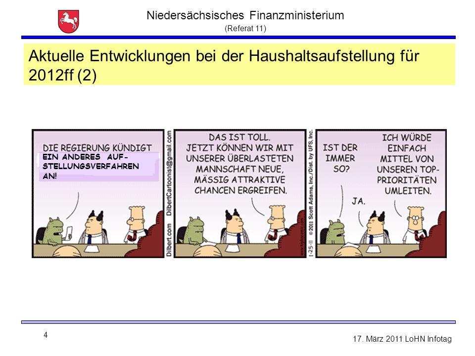 Niedersächsisches Finanzministerium (Referat 11) 4 17. März 2011 LoHN Infotag Aktuelle Entwicklungen bei der Haushaltsaufstellung für 2012ff (2) EIN A