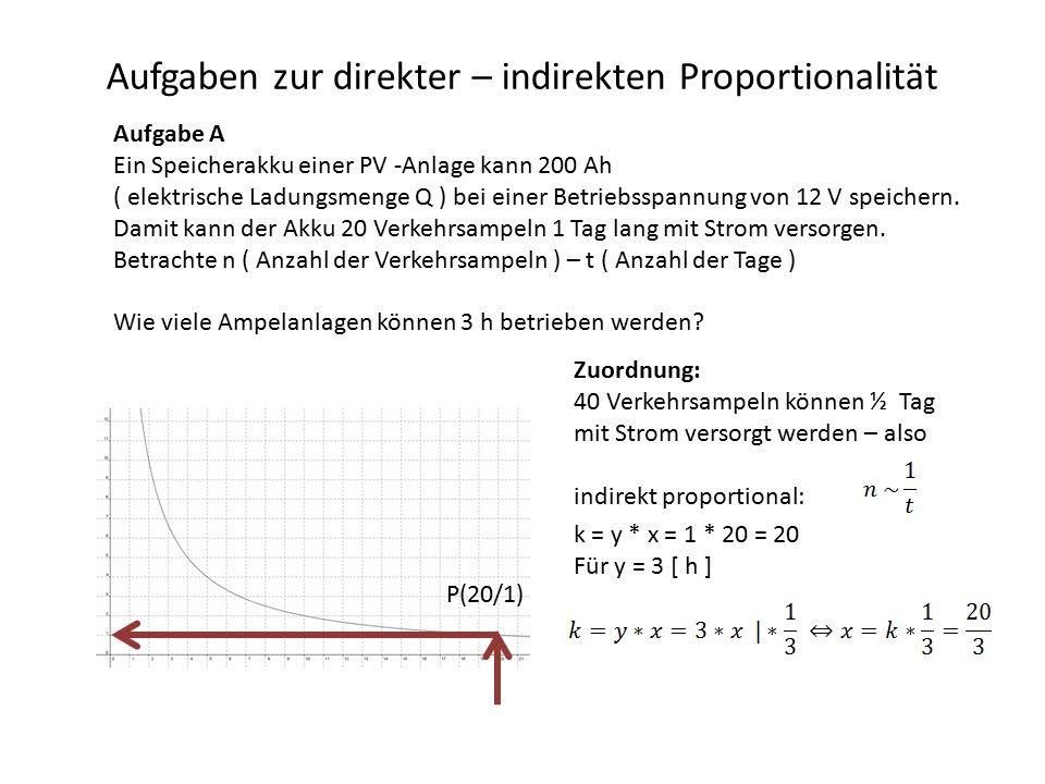 Aufgaben zur direkter – indirekten Proportionalität Aufgabe A Ein Speicherakku einer PV -Anlage kann 200 Ah ( elektrische Ladungsmenge Q ) bei einer Betriebsspannung von 12 V speichern.