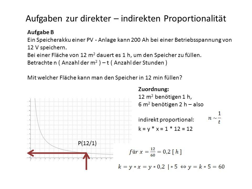 Aufgaben zur direkter – indirekten Proportionalität Aufgabe B Ein Speicherakku einer PV - Anlage kann 200 Ah bei einer Betriebsspannung von 12 V speichern.
