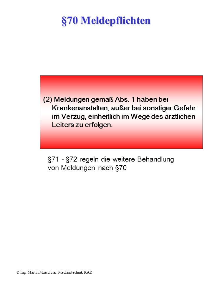 §70 Meldepflichten © Ing. Martin Marschner, Medizintechnik KAR Ärzte, Zahnärzte, Dentisten, Apotheker, Angehörige des Krankenpflegefachdienstes und de