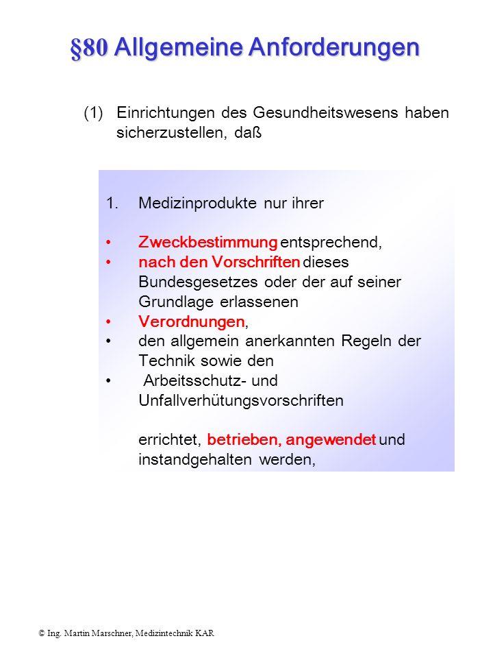 © Ing. Martin Marschner, Medizintechnik KAR Vorschriften für das Errichten, Betreiben, Anwenden und Instandhalten von Medizinprodukten in Einrichtunge