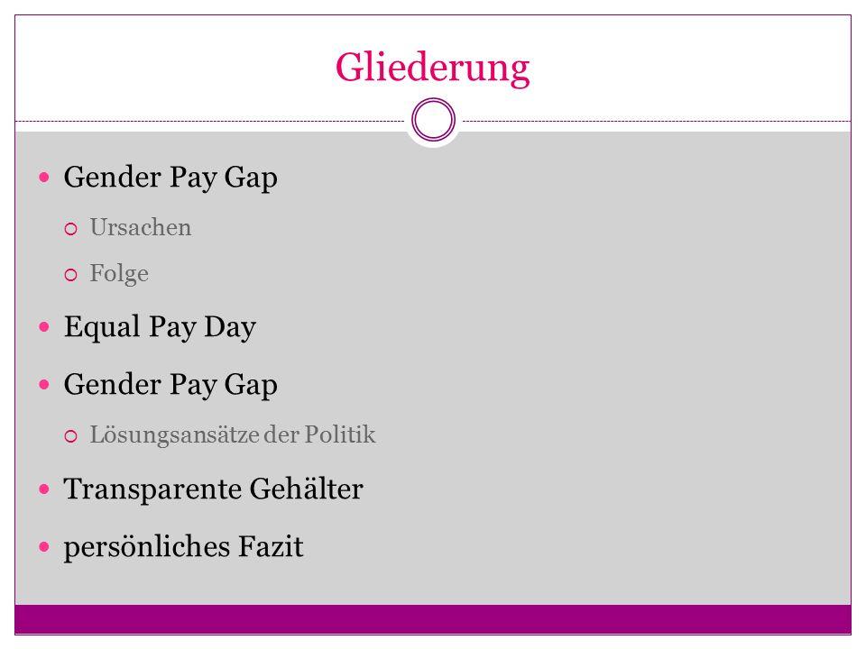 Gliederung Gender Pay Gap  Ursachen  Folge Equal Pay Day Gender Pay Gap  Lösungsansätze der Politik Transparente Gehälter persönliches Fazit