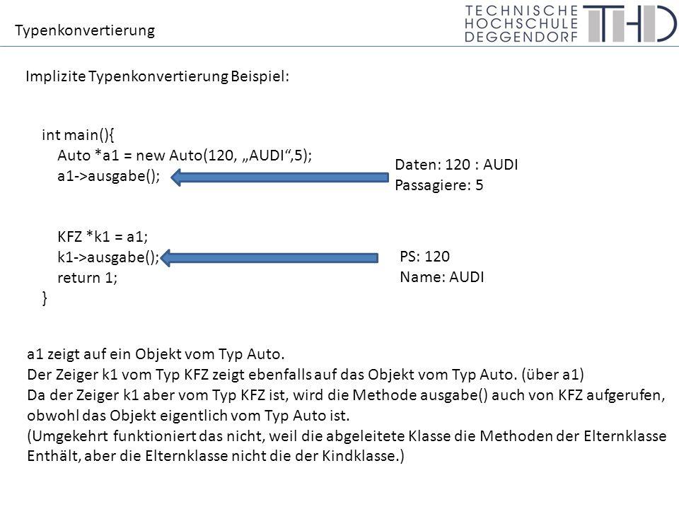 "Typenkonvertierung Implizite Typenkonvertierung Beispiel: int main(){ Auto *a1 = new Auto(120, ""AUDI"",5); a1->ausgabe(); KFZ *k1 = a1; k1->ausgabe();"