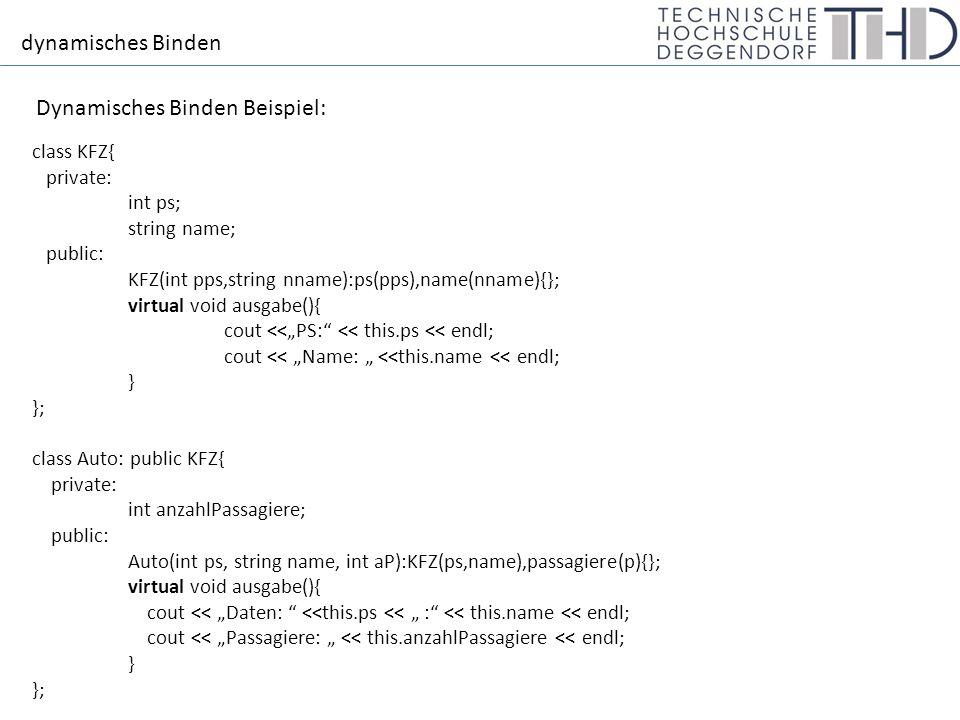 """dynamisches Binden Dynamisches Binden Beispiel: int main(){ Auto *a1 = new Auto(120, """"AUDI ,5); a1->ausgabe(); KFZ *k1 = a1; k1->ausgabe(); return 1; } Daten: 120 : AUDI Passagiere: 5 Jetzt bestimmt nichtmehr der Typ des Zeigers, welche Methode aufgerufen wird, sondern der Typ des Objektes."""