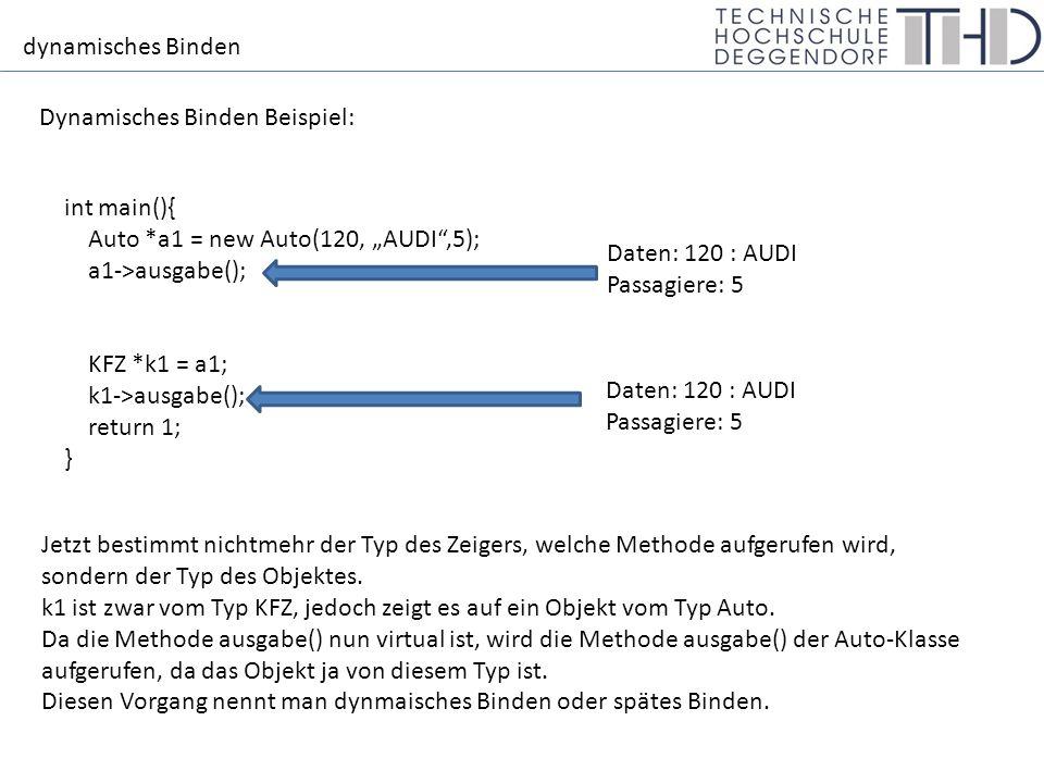 """dynamisches Binden Allgemeiner Zeiger Hierarchie KFZ Beispiel: int main(){ KFZ *k1 = new Auto(120, """"AUDI ,5); k1->ausgabe(); k1 = new LKW(""""300 , MAN , 7t , 80km/h ); k1->ausgabe(); k1 = new Zweirad(""""15 , BMW , 130km/h ); k1->ausgabe(); return 1; } Angenommen, wir haben zusätzlich noch eine Klasse LKW und Zweirad, die jeweils von der Klasse KFZ erben."""