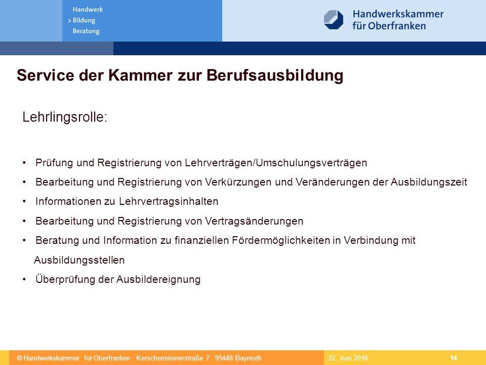 © Handwerkskammer für Oberfranken · Kerschensteinerstraße 7 · 95448 Bayreuth 14 22.