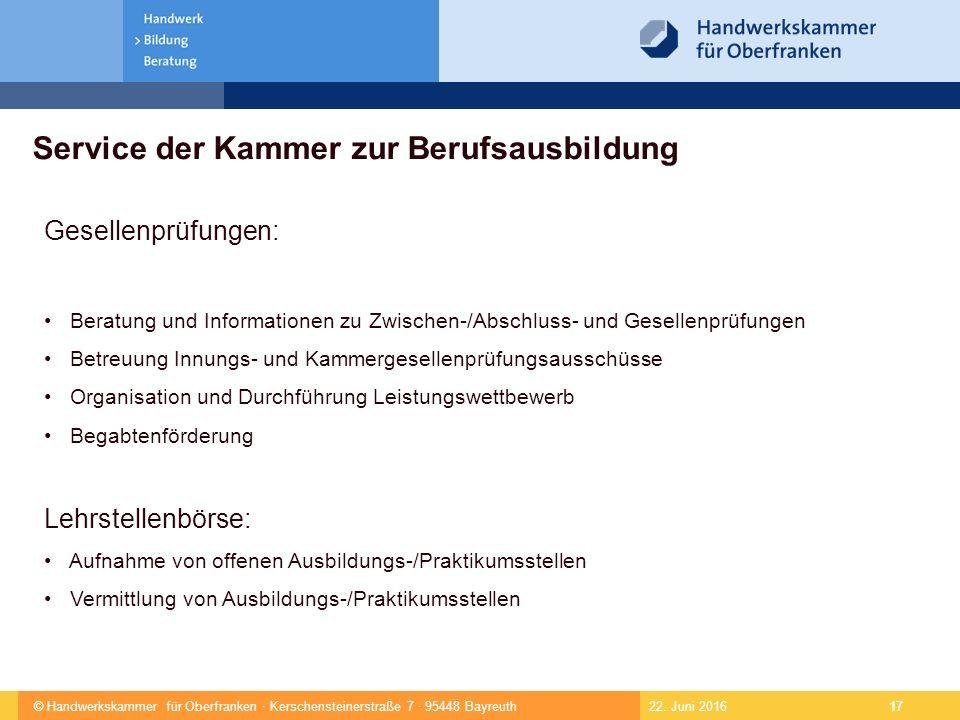 © Handwerkskammer für Oberfranken · Kerschensteinerstraße 7 · 95448 Bayreuth 17 22.