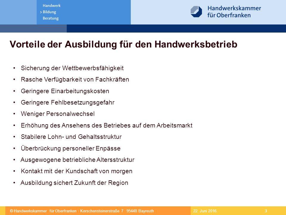 © Handwerkskammer für Oberfranken · Kerschensteinerstraße 7 · 95448 Bayreuth 4  Lehrverhältnisse am 31.12.20097276  Ausbildungsbetriebe2767  Anteil weiblicher Lehrlinge177824,4%  Anteil ausländischer Lehrlinge 165 2,2%  Neu abgeschlossene Lehrverhältnisse2436  Anteil weiblicher Lehrlinge 68027,9%  Anteil ausländischer Lehrlinge 46 1,9%  Neuabschlüsse Bayern 31012  Neueintragungen zum 31.08.2010 1803 22.
