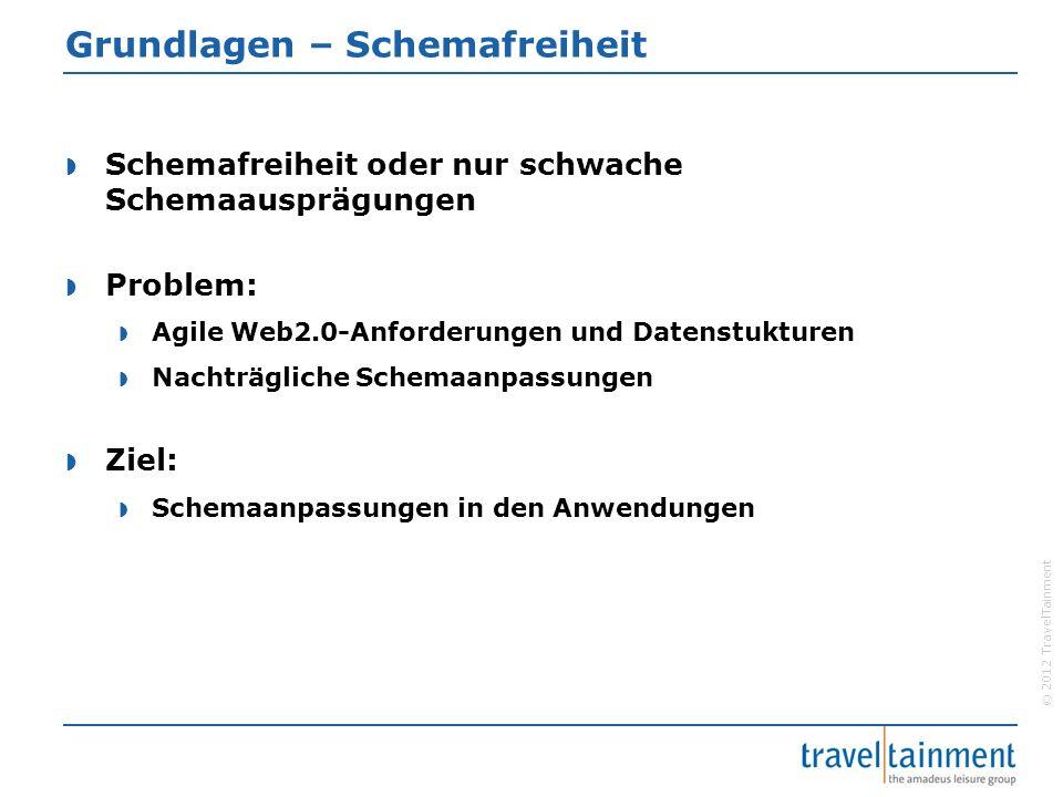 © 2012 TravelTainment Grundlagen – Schemafreiheit  Schemafreiheit oder nur schwache Schemaausprägungen  Problem:  Agile Web2.0-Anforderungen und Datenstukturen  Nachträgliche Schemaanpassungen  Ziel:  Schemaanpassungen in den Anwendungen