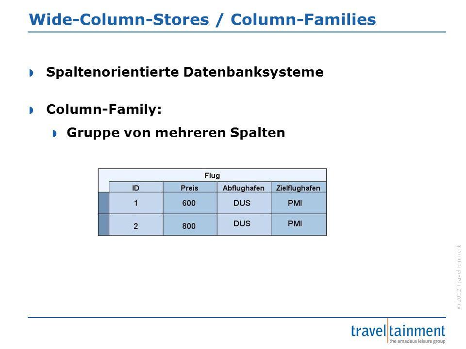 © 2012 TravelTainment Wide-Column-Stores / Column-Families  Spaltenorientierte Datenbanksysteme  Column-Family:  Gruppe von mehreren Spalten
