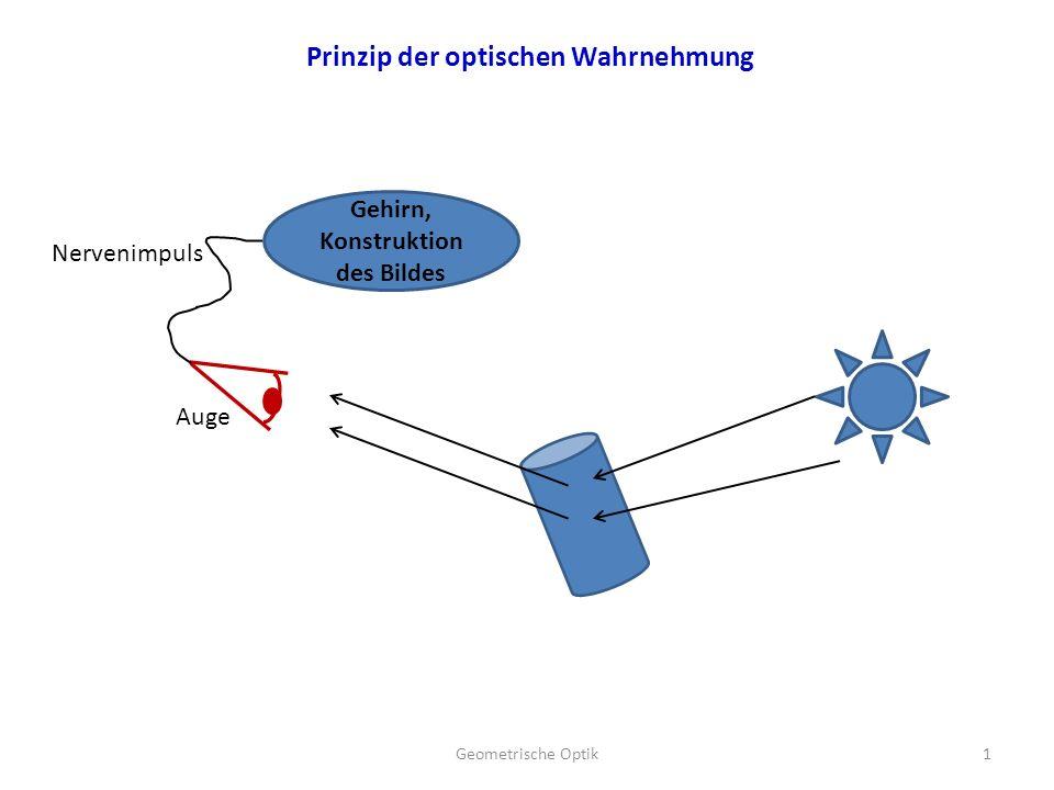 Gehirn, Konstruktion des Bildes Nervenimpuls Auge 1Geometrische Optik Prinzip der optischen Wahrnehmung
