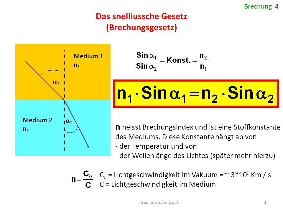 Geometrische Optik 4 Brechung 4 Das snelliussche Gesetz (Brechungsgesetz)   Medium 1 n 1 Medium 2 n 2 n heisst Brechungsindex und ist eine Sto