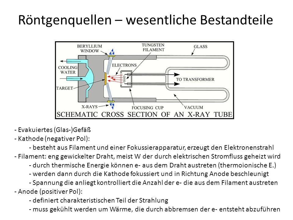 Röntgenquellen – wesentliche Bestandteile - Evakuiertes (Glas-)Gefäß - Kathode (negativer Pol): - besteht aus Filament und einer Fokussierapparatur, erzeugt den Elektronenstrahl - Filament: eng gewickelter Draht, meist W der durch elektrischen Stromfluss geheizt wird - durch thermische Energie können e- aus dem Draht austreten (thermoionische E.) - werden dann durch die Kathode fokussiert und in Richtung Anode beschleunigt - Spannung die anliegt kontrolliert die Anzahl der e- die aus dem Filament austreten - Anode (positiver Pol): - definiert charakteristischen Teil der Strahlung - muss gekühlt werden um Wärme, die durch abbremsen der e- entsteht abzuführen