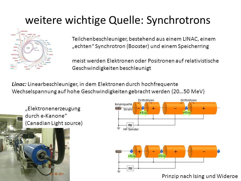 """weitere wichtige Quelle: Synchrotrons Teilchenbeschleuniger, bestehend aus einem LINAC, einem """"echten Synchrotron (Booster) und einem Speicherring meist werden Elektronen oder Positronen auf relativistische Geschwindigkeiten beschleunigt Linac: Linearbeschleuniger, in dem Elektronen durch hochfrequente Wechselspannung auf hohe Geschwindigkeiten gebracht werden (20…50 MeV) Prinzip nach Ising und Wideroe """"Elektronenerzeugung durch e-Kanone (Canadian Light source)"""