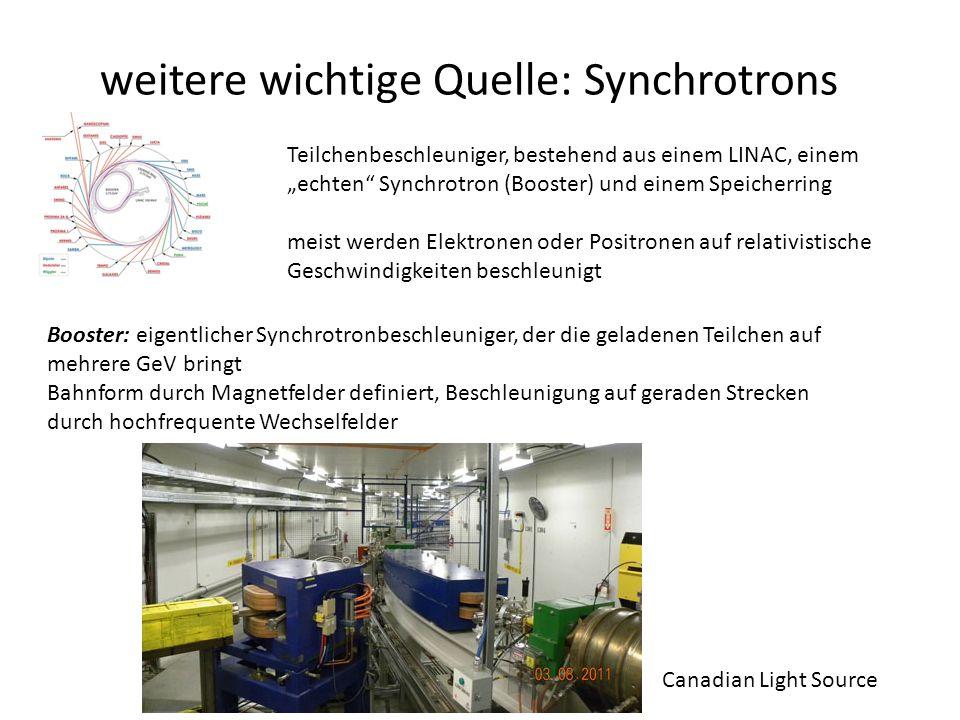 """weitere wichtige Quelle: Synchrotrons Teilchenbeschleuniger, bestehend aus einem LINAC, einem """"echten Synchrotron (Booster) und einem Speicherring meist werden Elektronen oder Positronen auf relativistische Geschwindigkeiten beschleunigt Booster: eigentlicher Synchrotronbeschleuniger, der die geladenen Teilchen auf mehrere GeV bringt Bahnform durch Magnetfelder definiert, Beschleunigung auf geraden Strecken durch hochfrequente Wechselfelder Canadian Light Source"""