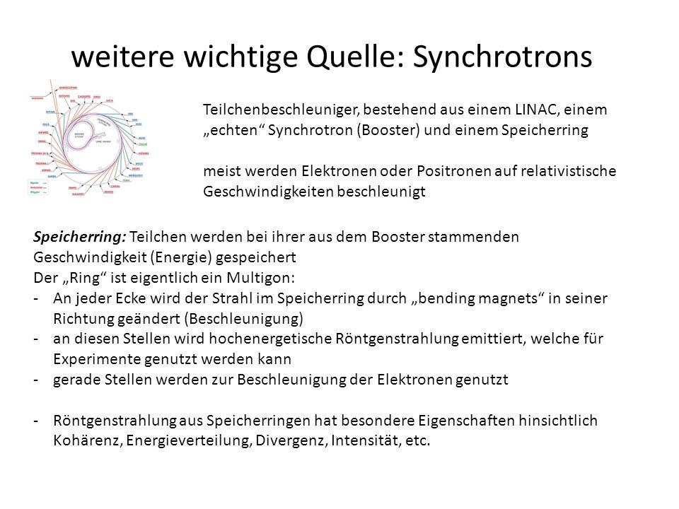 """weitere wichtige Quelle: Synchrotrons Teilchenbeschleuniger, bestehend aus einem LINAC, einem """"echten Synchrotron (Booster) und einem Speicherring meist werden Elektronen oder Positronen auf relativistische Geschwindigkeiten beschleunigt Speicherring: Teilchen werden bei ihrer aus dem Booster stammenden Geschwindigkeit (Energie) gespeichert Der """"Ring ist eigentlich ein Multigon: -An jeder Ecke wird der Strahl im Speicherring durch """"bending magnets in seiner Richtung geändert (Beschleunigung) -an diesen Stellen wird hochenergetische Röntgenstrahlung emittiert, welche für Experimente genutzt werden kann -gerade Stellen werden zur Beschleunigung der Elektronen genutzt -Röntgenstrahlung aus Speicherringen hat besondere Eigenschaften hinsichtlich Kohärenz, Energieverteilung, Divergenz, Intensität, etc."""