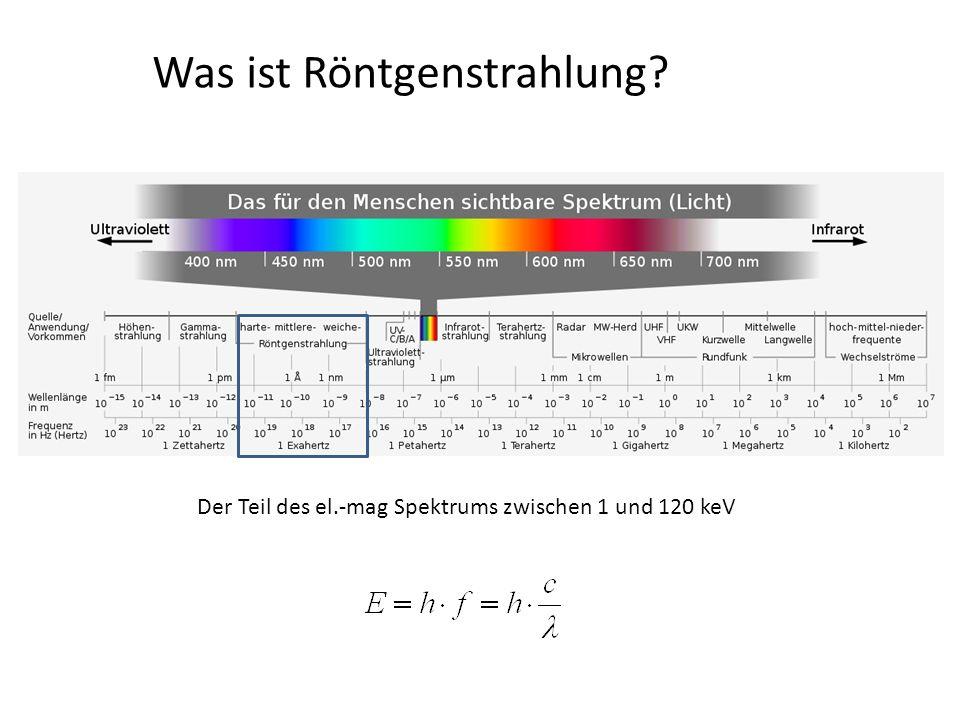 Röntgenquellen – wesentliche Bestandteile - Betrieb der Röhre wird durch Strom und Spannung geregelt: - mA (Röhrenstrom): kontrolliert im wesentlichen die Anzahl der Röntgenphotonen (direkt proportional), durch Erhöhung des Kathodenstroms - kV (Röhrenspannung): kontrolliert im wesentlichen die Geschwindigkeit der Elektronen, mit der diese zur Anode beschleunigt werden (Effizienz der Röntgenphotonenerzeugung/Elektron)