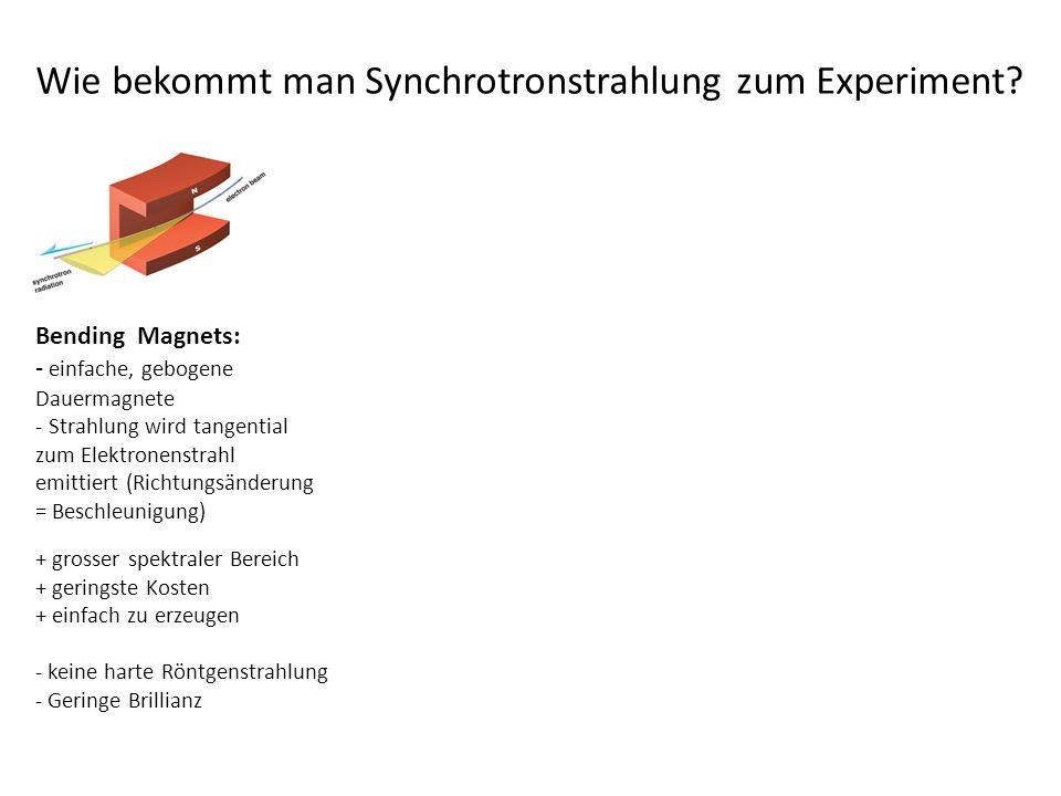Bending Magnets: - einfache, gebogene Dauermagnete - Strahlung wird tangential zum Elektronenstrahl emittiert (Richtungsänderung = Beschleunigung) + grosser spektraler Bereich + geringste Kosten + einfach zu erzeugen - keine harte Röntgenstrahlung - Geringe Brillianz