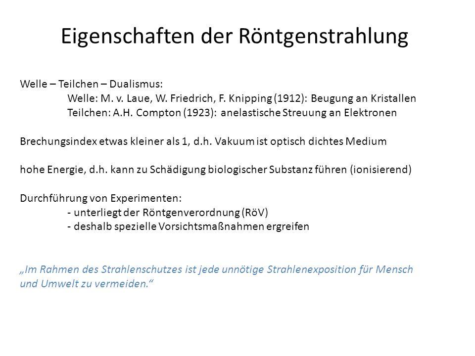 Eigenschaften der Röntgenstrahlung Welle – Teilchen – Dualismus: Welle: M.