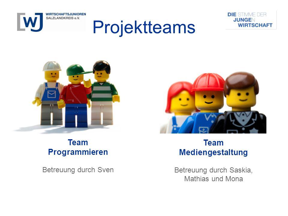 Projektteams Team Programmieren Betreuung durch Sven Team Mediengestaltung Betreuung durch Saskia, Mathias und Mona