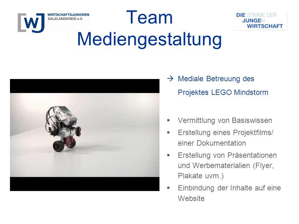 Team Mediengestaltung  Mediale Betreuung des Projektes LEGO Mindstorm  Vermittlung von Basiswissen  Erstellung eines Projektfilms/ einer Dokumentat