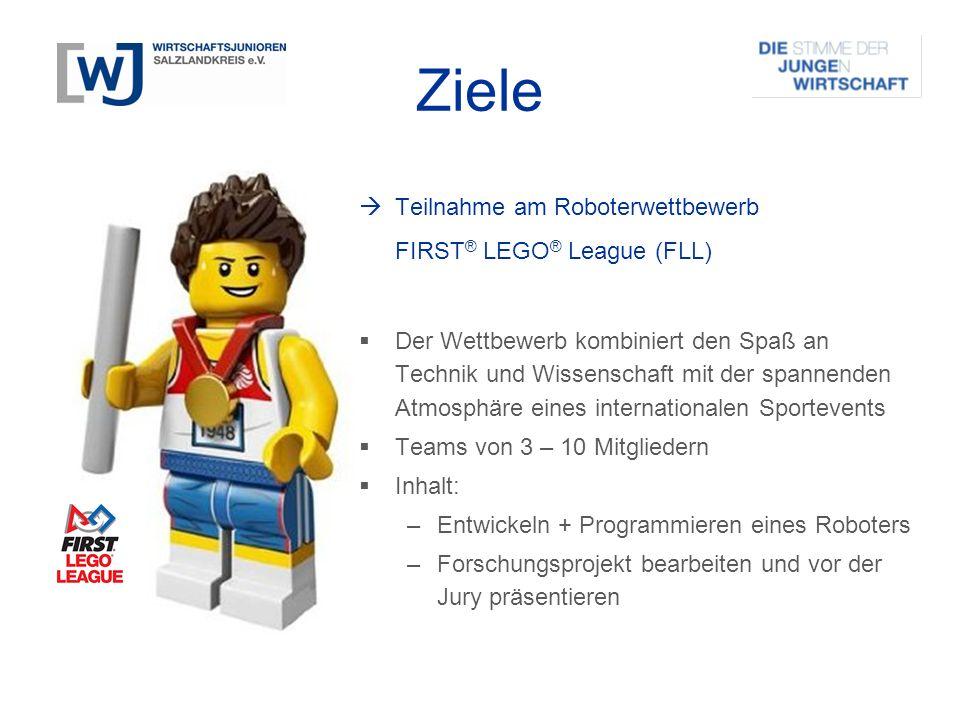Ziele  Teilnahme am Roboterwettbewerb FIRST ® LEGO ® League (FLL)  Der Wettbewerb kombiniert den Spaß an Technik und Wissenschaft mit der spannenden