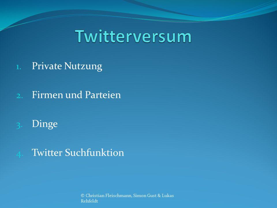 1. Private Nutzung 2. Firmen und Parteien 3. Dinge 4. Twitter Suchfunktion © Christian Fleischmann, Simon Gust & Lukas Rehfeldt