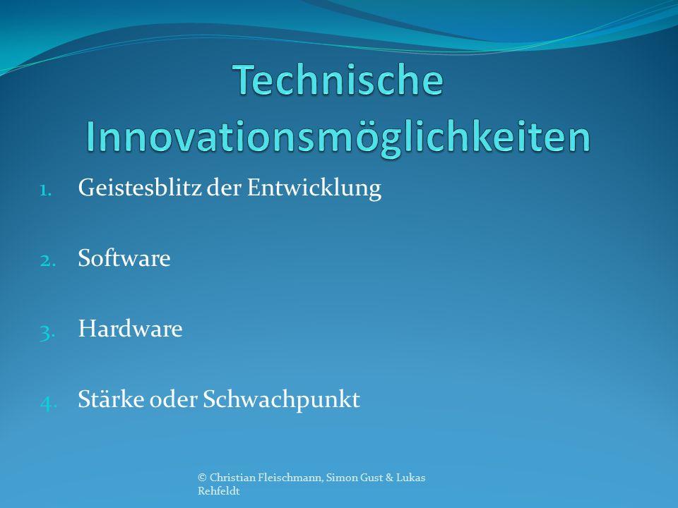 1. Geistesblitz der Entwicklung 2. Software 3. Hardware 4. Stärke oder Schwachpunkt © Christian Fleischmann, Simon Gust & Lukas Rehfeldt