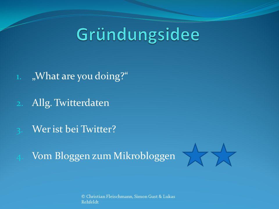"""1. """"What are you doing?"""" 2. Allg. Twitterdaten 3. Wer ist bei Twitter? 4. Vom Bloggen zum Mikrobloggen © Christian Fleischmann, Simon Gust & Lukas Reh"""